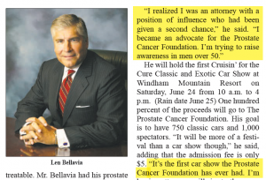 Len Bellavia Article About Prostate Cancer